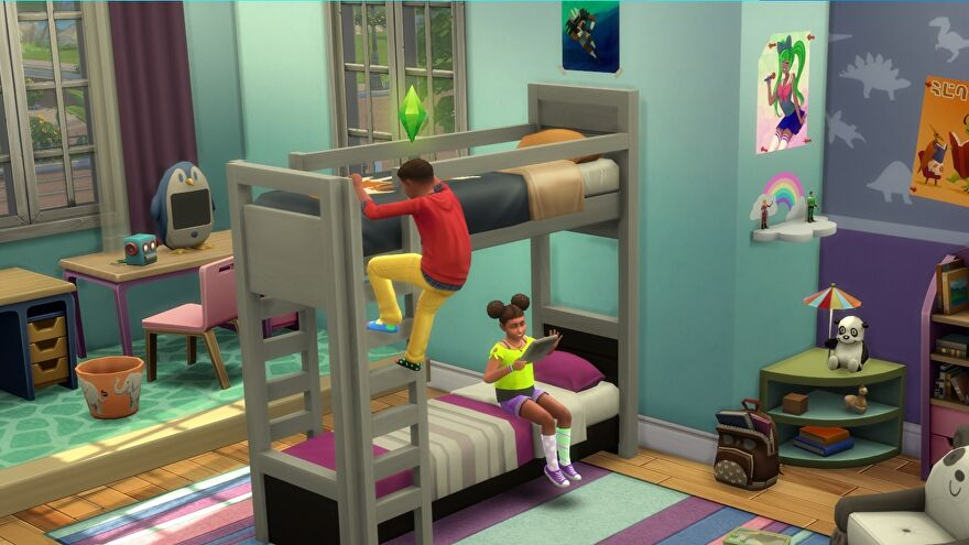 The Sims 4 - One Sim child is sitting on the lower half of a bunk bed playing on a tablet while another child climbs a ladder to the top part.