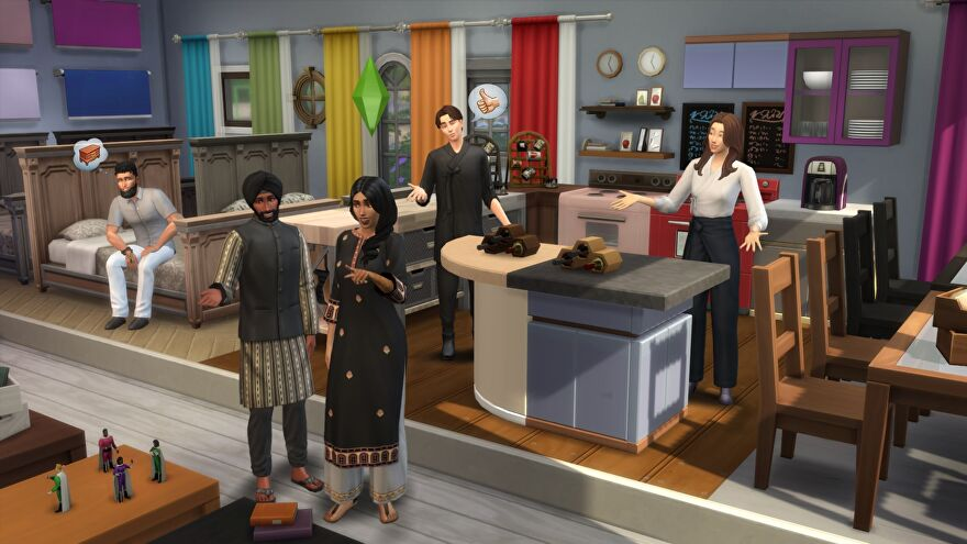 The Sims 4 - Several Sims stand in a furniture store like setup looking at new color swatches being added for drapes, counters, clutter objects, and more.