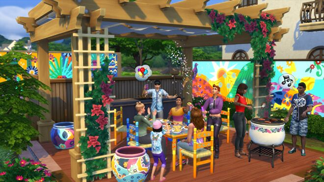 A group of Sims enjoying a barbecue in a brightly-coloured back yard.