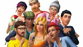 A group of Sims, from the original box art of The Sims 4.