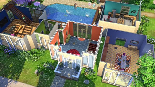 A house in The Sims 4 being edited in Build Mode.