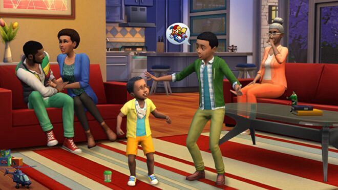 A family of five Sims, ranging in age from toddler to elder.