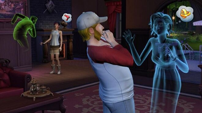Living Sims being scared by ghosts in The Sims 4.