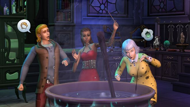 A trio of witches gathered around a cauldron in The Sims 4.