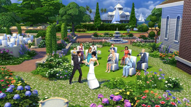 An outdoor wedding in The Sims 4.