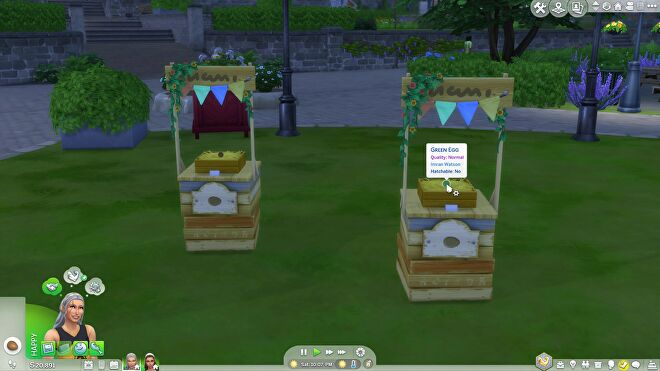 Competition stalls in The Sims 4 with multi-coloured eggs on them.