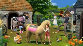 A young girl hugs a llama in a farmyard. In the background, other characters interact with chickens and cows.