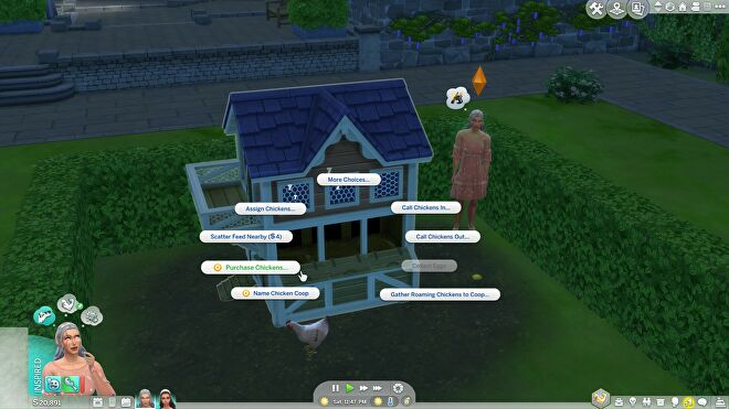 """A chicken coop in The Sims 4 with a pop-up menu displaying several interaction options. """"Purchase Chickens"""" is highlighted."""