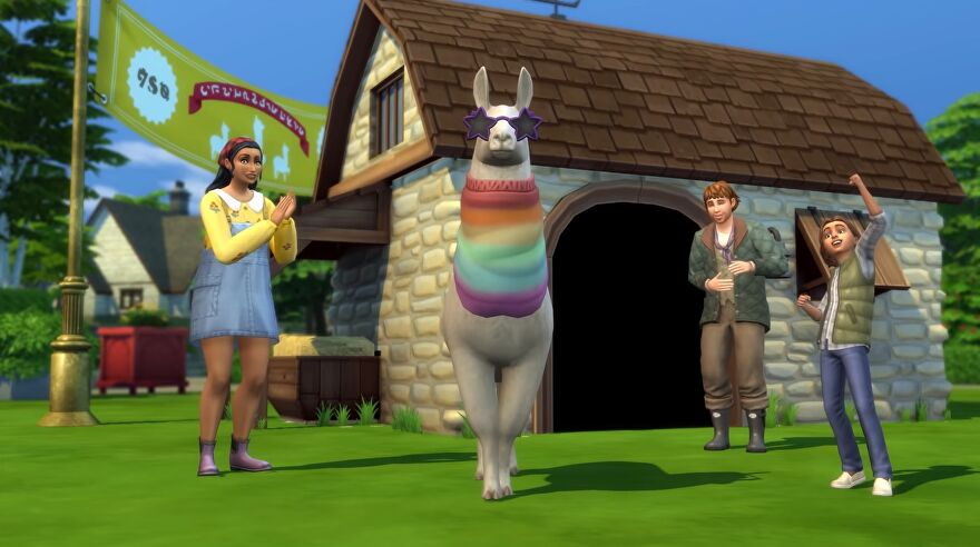 The Sims 4 cottage living expansion - A llama wears a rainbow sweater and star-shaped sunglasses while several sims stand nearby clapping
