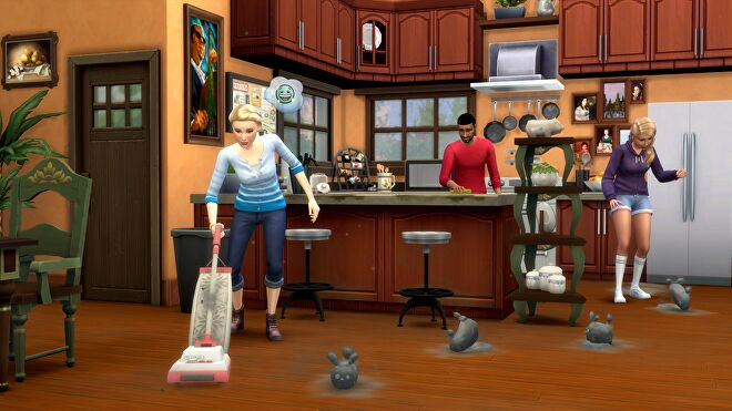 A Sim vacuuming up dust bunnies in The Sims 4.