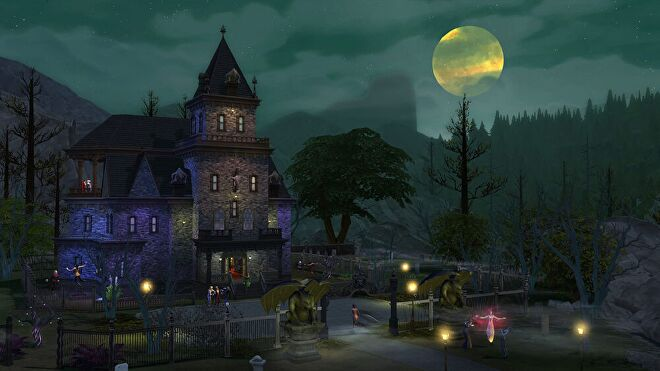 A full moon rising above an ominous gothic mansion. Levitating figures can be see on the front lawn.