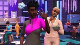 The Sims 4 Spa Day refresh - A sim looks at their nail art while wearing an athletic sweatshirt while a sim in the background eats cucumber slices wearing a tracksuit.
