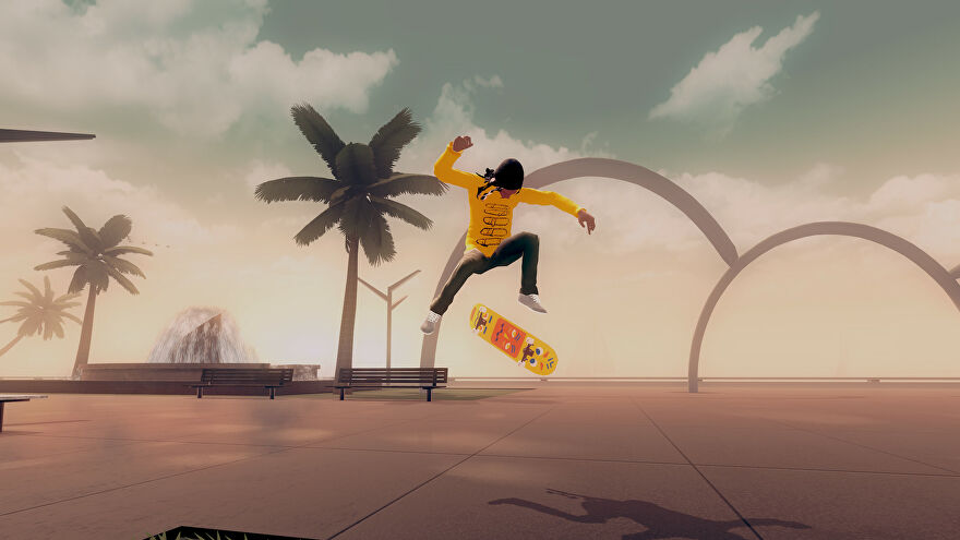 A skateboarder mid-air during a trick in a Skate City screenshot.