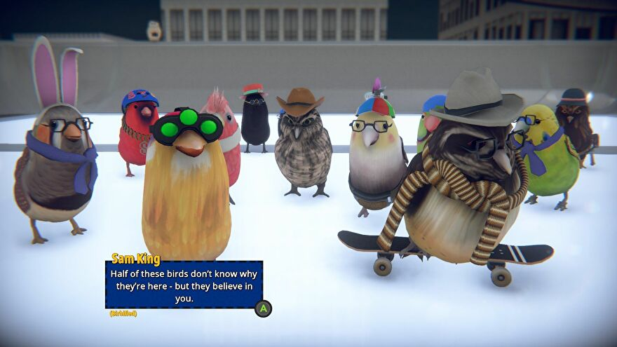 A group of birds in different costumes gather in Skatebird