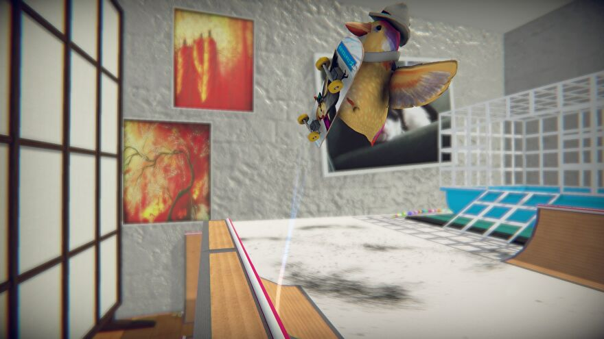 SkateBird - A tiny bird on a tiny skateboard is flapping in the air above a halfpipe.
