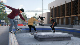 Four people skating together outside a building in a Skater XL multiplayer beta screenshot.
