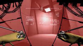 A screenshot of first-person shooter Skin Deep showing an electronic display inside the cockpit of a mech.