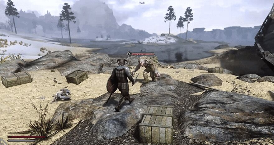 A screengrab of Skyrim showing a third-person camera following the player and target locked on an enemy during combat.