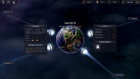 A screenshot of Slipways, showing a planet in close-up with four warp gates attached to it.