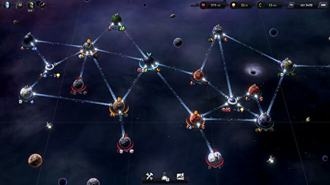 A screenshot of Slipways, showing a group of small planets in space with paths - slipways - connecting them.