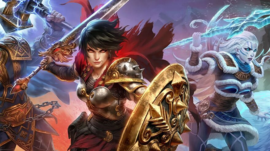 Smite - Bellona holds a shield and sword, ready to fight