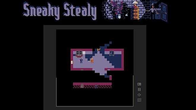 Sneaky Stealy, a free pico-8 game where two players control a pair of thieves breaking into and stealing things from top down buildings full of guards and cameras.