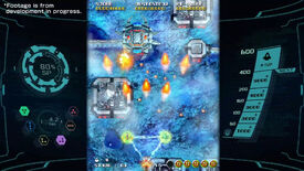 Blasting a ship with a split-shot in shoot 'em up Sol Cresta.