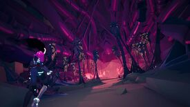 A screenshot of Solar Ash, showing the protagonist in the lower left looking into a pink and purple cave. Tubes, possibly tentacles or spider legs, hug the walls. Skeletons are held aloft, wrapped up in chitinous carcasses of bugs that seem to protrude from the ground on tendons and spikes. Sinster.