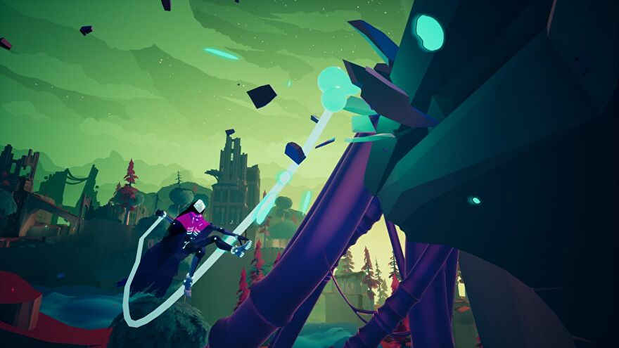 Solar Ash - A character swings on a neon blue rope through a colourful ruined castle world.