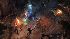 Solasta Crown Of The Magister - Concept art showing four characters wielding swords, bows, and magic, standing together at the center of a dark dungeon as monsters approach from the walls and floor.