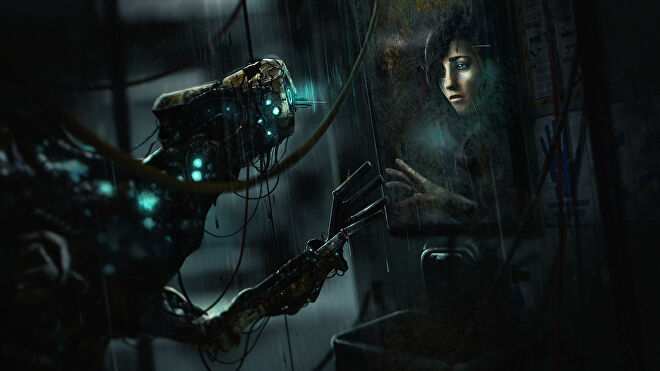 A piece of key art for the sci-fi horror game SOMA showing a robot looking in a cracked mirror and seeing a sad woman in the reflection