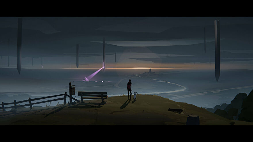 A screenshot of Somerville with a man and his dog looking out at sea, with a sky filled with alien monoliths