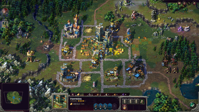 A screenshot of Songs Of Conquest showing a map of a fantasy medieval city, on which giant heroes and beasts stand.