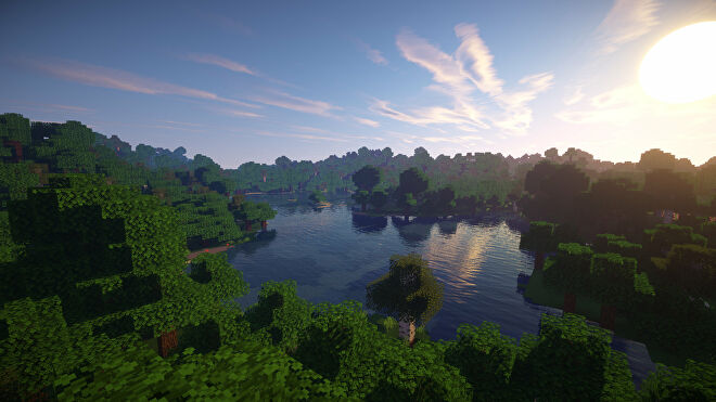 A Minecraft screenshot of a landscape with Sonic Ether's Unbelievable Shaders enabled.
