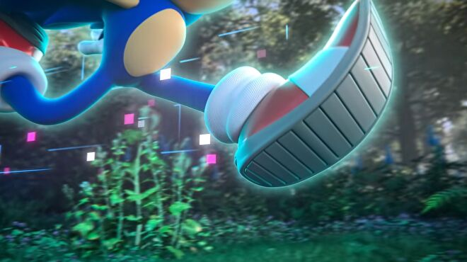 Sonic teaser for 2022 game - Animated 3D Sonic's torso and shoes as visible surrounded by digital-looking purple artifacts in a mostly realistic-looking forest.