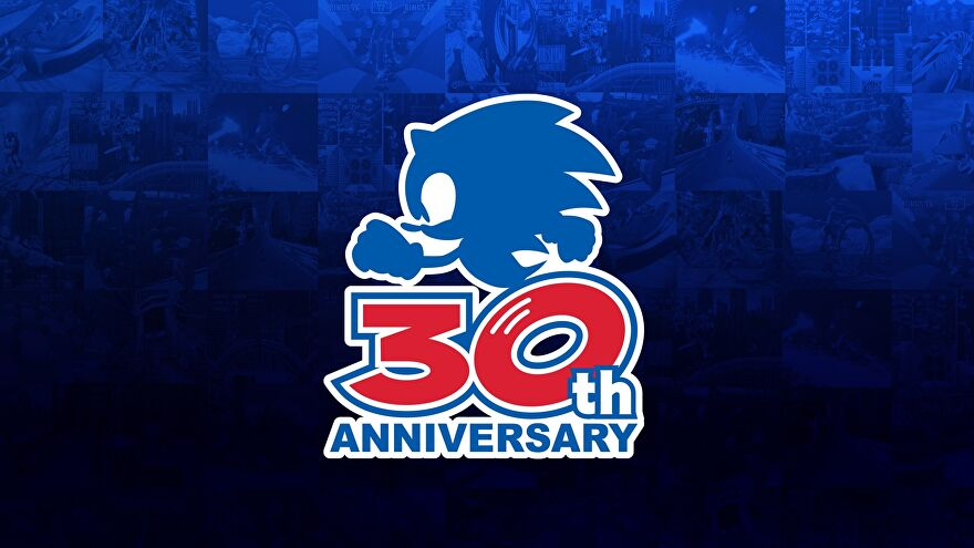 """Sonic 30th Anniversary logo: a silhouette of Sonic running with his rotating feet forming the """"0"""" in 30 on a backdrop of Sonic game screenshots."""