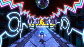 Sonic Colors: Ultimate - Sonic running towards a giant coin on a path surrounded by neon lights with a disco ball overhead.