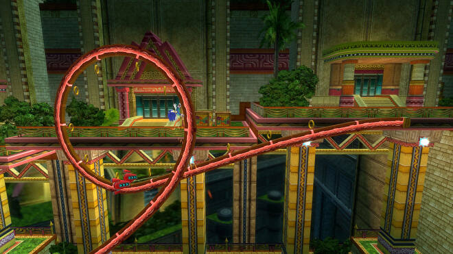 Sonic doing a loop the loop in Sonic Colors Ultimate.