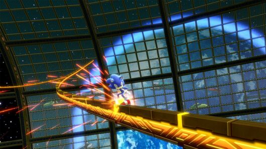 Sonic grinding on a rail in Sonic Colors Ultimate.