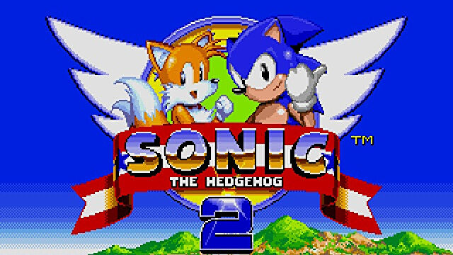 Sonic and Tails on the Sonic the Hedgehog 2 title screen.