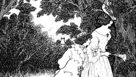 A tall young woman with a hat and a fan walks in the woods near a village with a shorter young man wearing a boater at her side, from the poem The Three Musicians by Aubrey Beardsley.