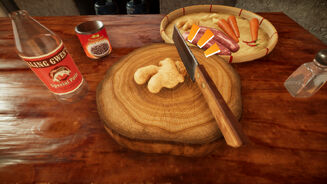 A screenshot of Soup Pot showing a wooden chopping board with ginger on top of it. A knife is cutting into the ginger. Several other ingredients are dotted around the table.