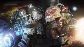 Two Space Marine Terminators fire their giant guns in a Space Hulk: Deathwing screenshot.