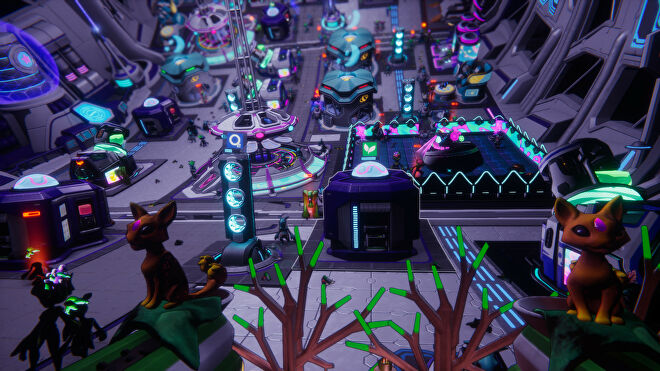 The inside of a very purple space station in Spacebase Startopia.