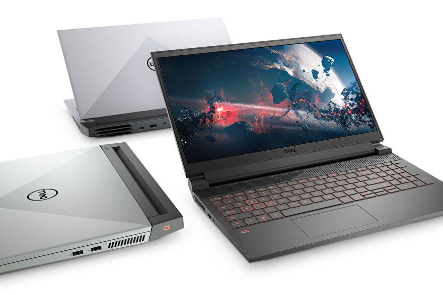 three Dell gaming laptops are pictured on a mysterious white plane, including the G15