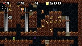 """A screenshot of Spelunky Classic, showing the first Mines world, with Spelunky guy jumping in the direction of a """"damsel""""."""