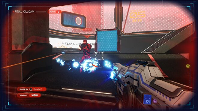The player fires their gun at another competitor in Splitgate