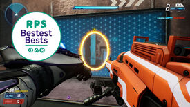 The player fires a portal in Splitgate, with the RPS Bestest Best logo in the corner