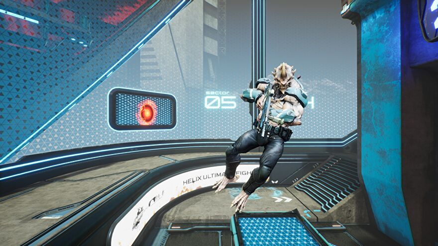 A screenshot of Splitgate season 0 showing a gnarly-looking monster with a machinegun in an arena environment.