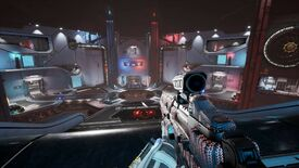 Splitgate - First person perspective player holds a sci-fi rifle while looking at a blue and reddish arena with two portals on a far wall.